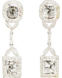 Saqqara - Art Deco Style Diamond Drop Earrings - Lyst