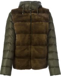 P.A.R.O.S.H. - - 'quarter' Fur Panel Padded Jacket - Women - Feather Down/goat Fur/mink Fur/polyester - Xs - Lyst