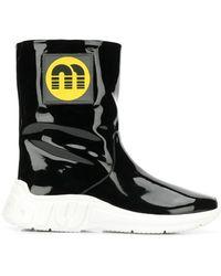 Miu Miu - Logo patch ankle boots - Lyst