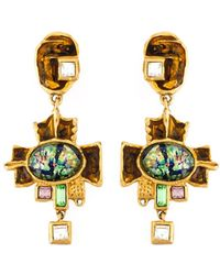 Christian Lacroix - Large Cross Drop Earrings - Lyst