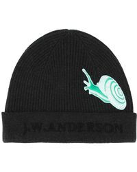 JW Anderson - Snail Patch Ribbed Logo Beanie - Lyst