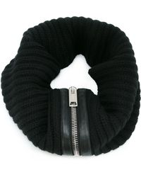 Les Hommes - Ribbed Zip Detail Scarf - Lyst