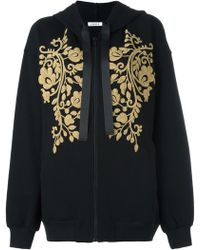 P.A.R.O.S.H. - Gold-tone Patch Zipped Hoodie - Lyst