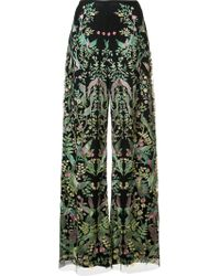 Marchesa - Embroidered Palazzo Trousers - Lyst