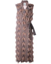 Si-jay - - Sleeveless Fringed Detail Coat - Women - Acrylic/polyamide/viscose/wool - 42 - Lyst