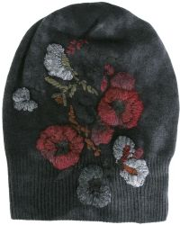 Avant Toi - Floral Ribbed Beanie - Lyst