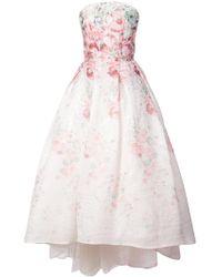Monique Lhuillier - Flared Strapless Floral Print Dress - Lyst