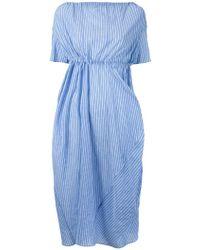 Assin - Striped Draped Mid Dress - Lyst