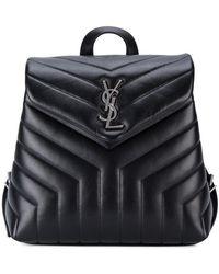 Saint Laurent - Small Monogram Leather Backpack - Lyst