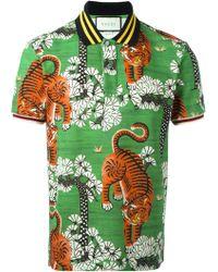 Gucci - Bengal Print Polo Shirt - Lyst