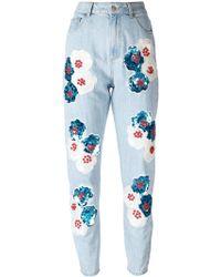Au Jour Le Jour - Floral Patch Jeans - Lyst