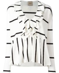 Nude - - Stripe Ruffle Trim Top - Women - Cotton - 38 - Lyst