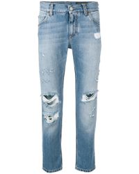 Dolce & Gabbana - Distressed Cropped Jeans - Lyst