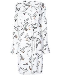 Oscar de la Renta - Bird-print Belted Longline Blouse - Lyst