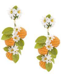Carolina Herrera - Flower And Beads Earrings - Lyst