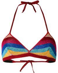 Laneus - Lurex Striped Bikini Top - Lyst