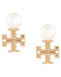 Tory Burch - Milgrain Pearl Earrings - Lyst