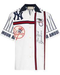 Popular Gucci - Camisa bowling de algodón con bordado NY Yankees - Lyst 4bffbc24a47