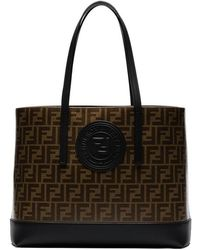 Fendi - Tobacco Brown Shopper Logo Stamp Leather Tote Bag - Lyst