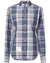 Thom Browne - Classic Oversized Long Sleeve Point Collar Shirt In Large Madras Check Poplin - Lyst