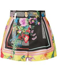 Versace - Floral Greca Print Shorts - Lyst