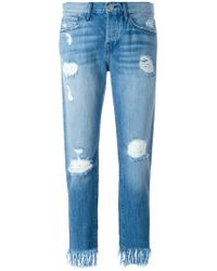 3x1 - Frayed Cropped Jeans - Lyst