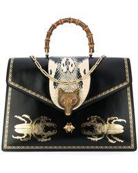 Gucci - Broche Beetle Print Top Handle Bag - Lyst