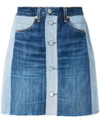 RE/DONE - X Levi's Button Front Denim Skirt - Lyst