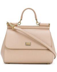 b904b03b37f9 Lyst - Dolce   Gabbana Mini Sicily Embellished Python Shoulder Bag