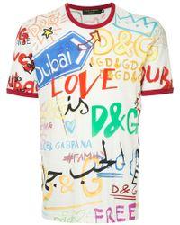 Dolce & Gabbana - Dubai Graffiti Printed T-shirt - Lyst