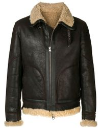 Jeckerson - Front Zip Shearling Jacket - Lyst