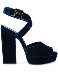 Saint Laurent - Cross Strap Wedge Sandals - Lyst