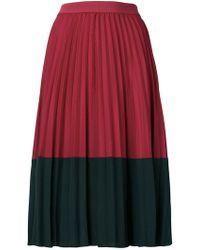 Pinko - Falda plisada en colour block - Lyst