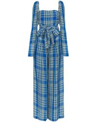 Rosie Assoulin - Off The Shoulder Plaid Jumpsuit - Lyst