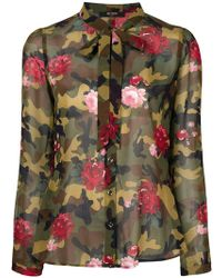 Twin Set - Camouflage Floral Blouse - Lyst