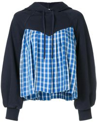 Sea - Contrast Check Panel Hoody - Lyst