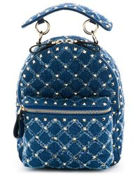 Valentino - Rockstud Spike Mini Backpack In Blue Quilted Denim - Lyst