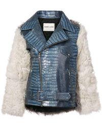 Sandy Liang - Blue Crocodile And Fur Jacket - Lyst