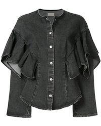 Sara Battaglia - Ruffle Sleeve Denim Jacket - Lyst