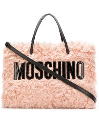 Moschino - Branded Shearling Tote - Lyst