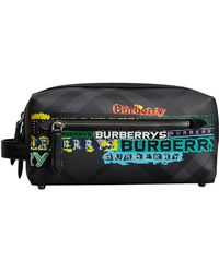 Burberry - Tag Print London Check And Leather Pouch - Lyst
