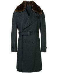 Tagliatore - Fur Collar Double Breasted Coat - Lyst