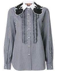 N°21 - Oversized Collar Gingham Shirt - Lyst