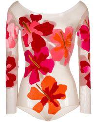 Alexia Hentsch - Silk Flower Applique Bodysuit - Lyst