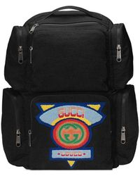 Gucci - Black Large Backpack With '80s Patch - Lyst