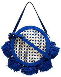 Mehry Mu - Blue Tambourine Suede And Straw Satchel Bag - Lyst