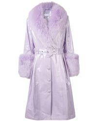 Saks Potts - Foxy Patent Leather Coat W/ Fur Trim - Lyst