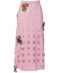 Christopher Kane - Floral Embellished Grid Skirt - Lyst