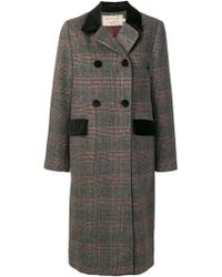 Maison Kitsuné - Checked Double-breasted Coat - Lyst