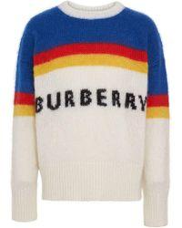 Burberry - Osbourne Mohair-blend Intarsia Logo Sweater - Lyst